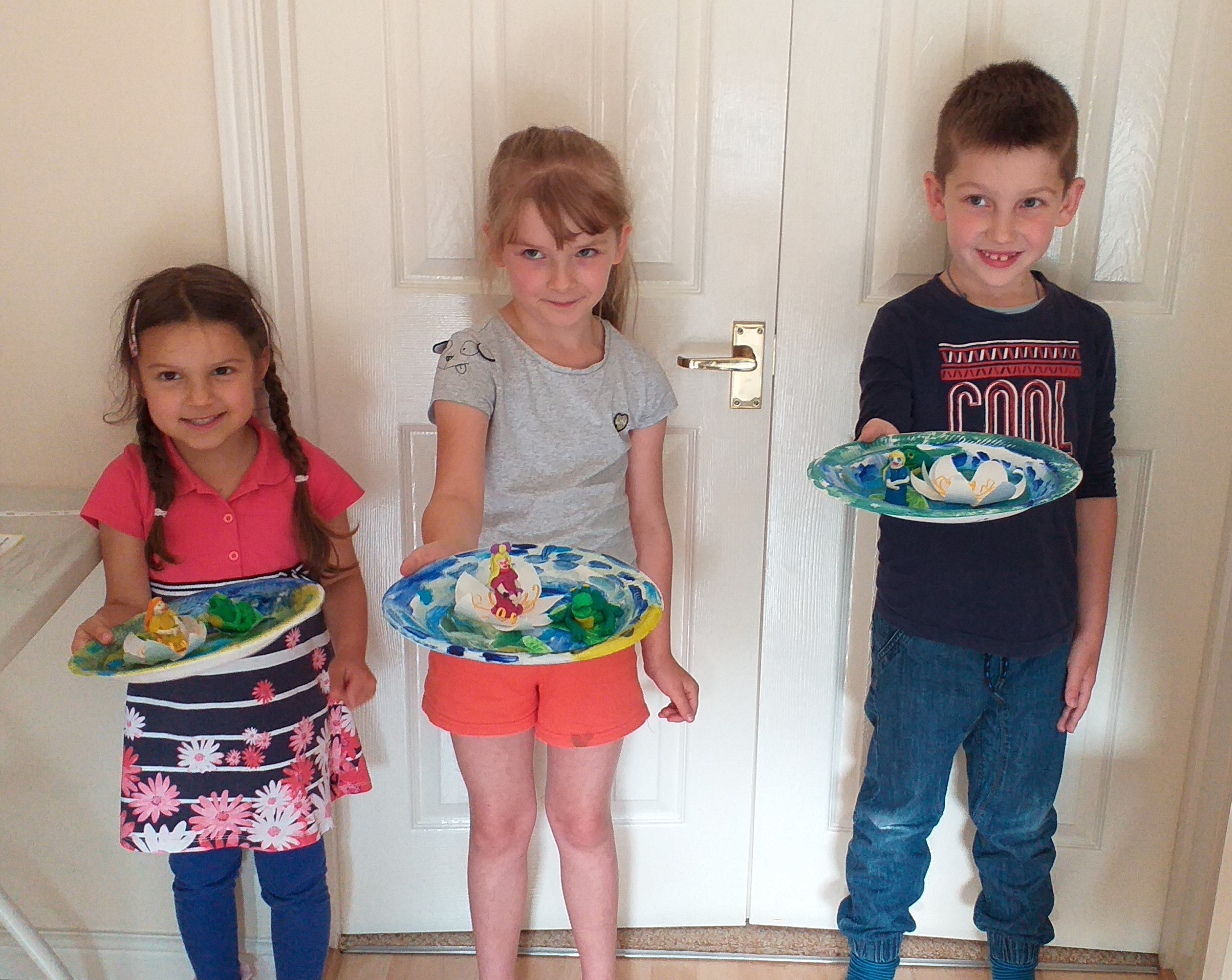 Children with their Art and craft work at Magic Wool Art and Craft Studio in Kidderminster, Worcestershire