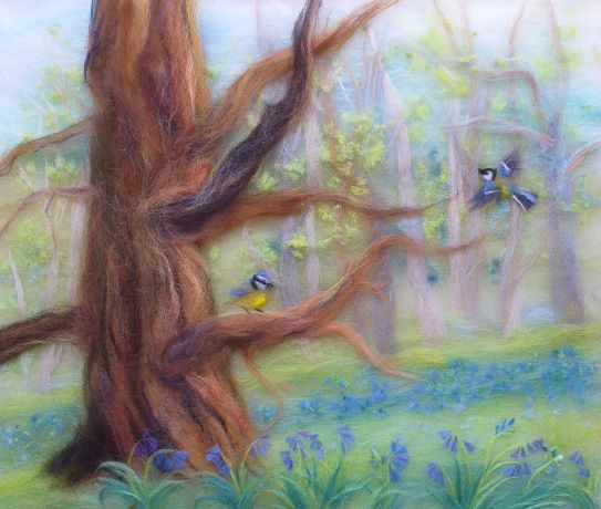 'Bluebell woods' wool fibre painting workshop at Bevere gallery Worcester with Textiles Artist Raya Brown