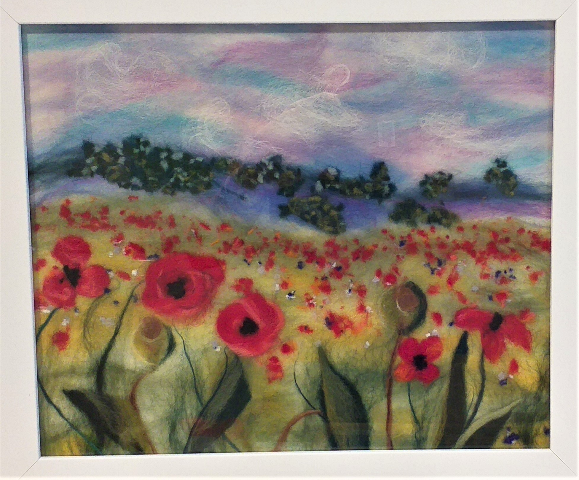 'Filed with Red poppies' wool painting created by artist Chrys Hendi-Warner