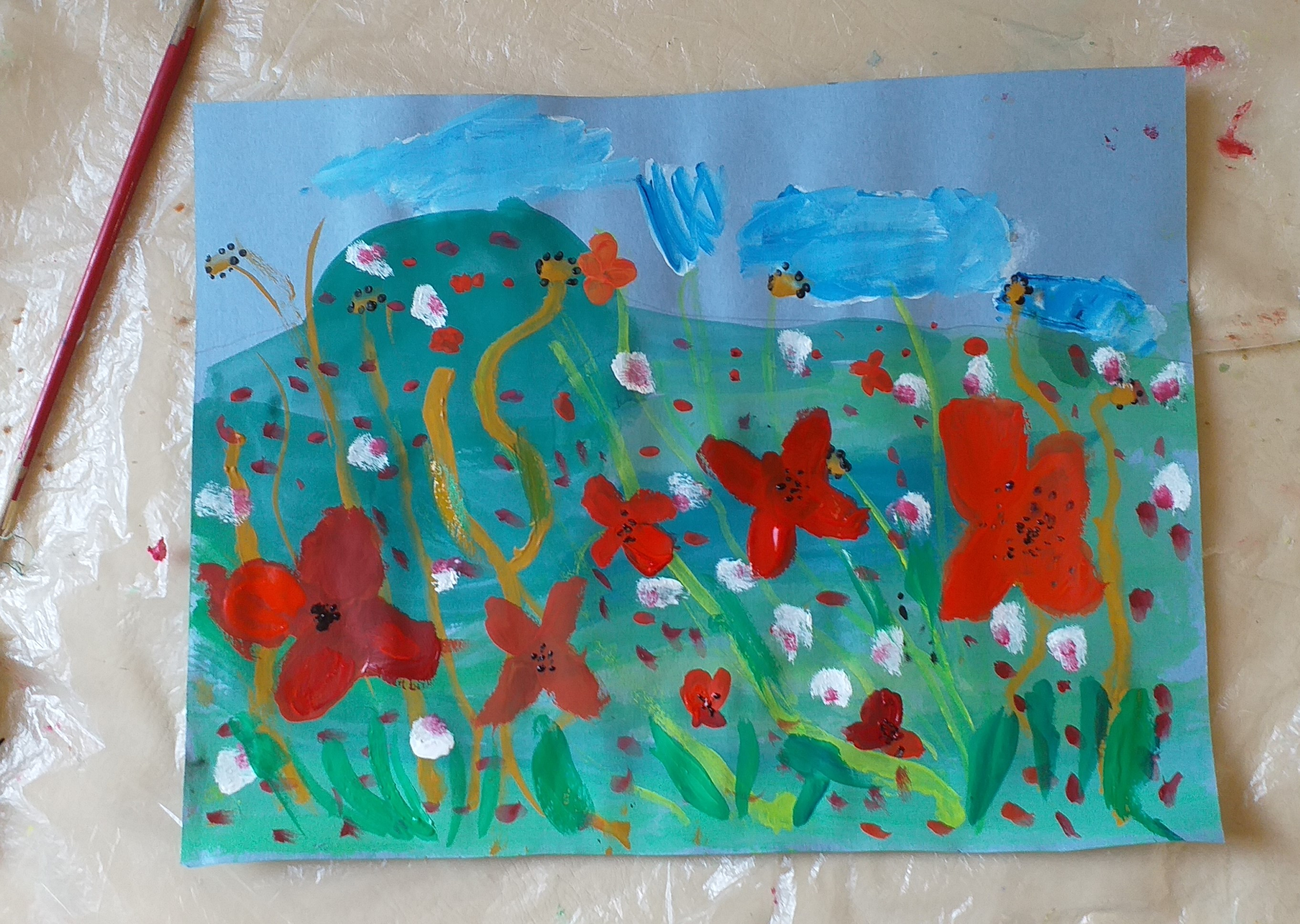 Young artist's painting created at Magic Wool Art and Craft Studio in Worcestershire