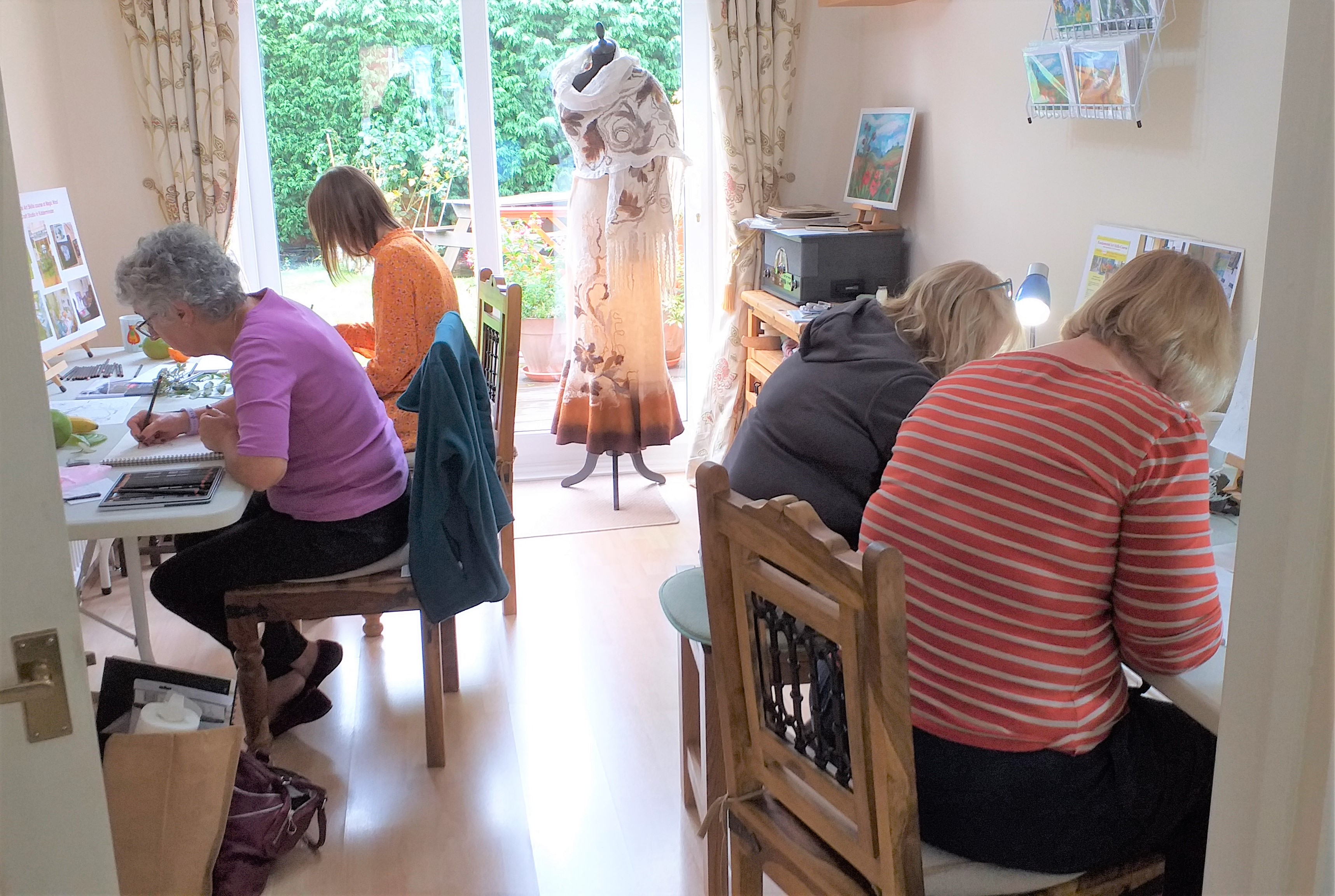 Students learning how to draw at Raya's Art classes in Kidderminster, Worcestershire