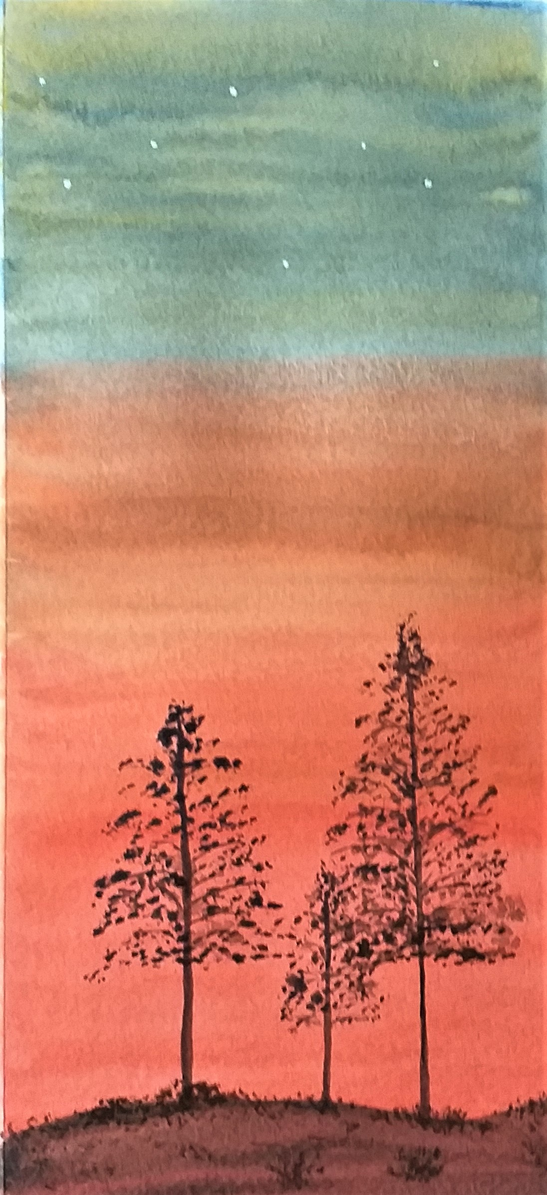 Student's work created at watercolour class for beginners at Kidderminster