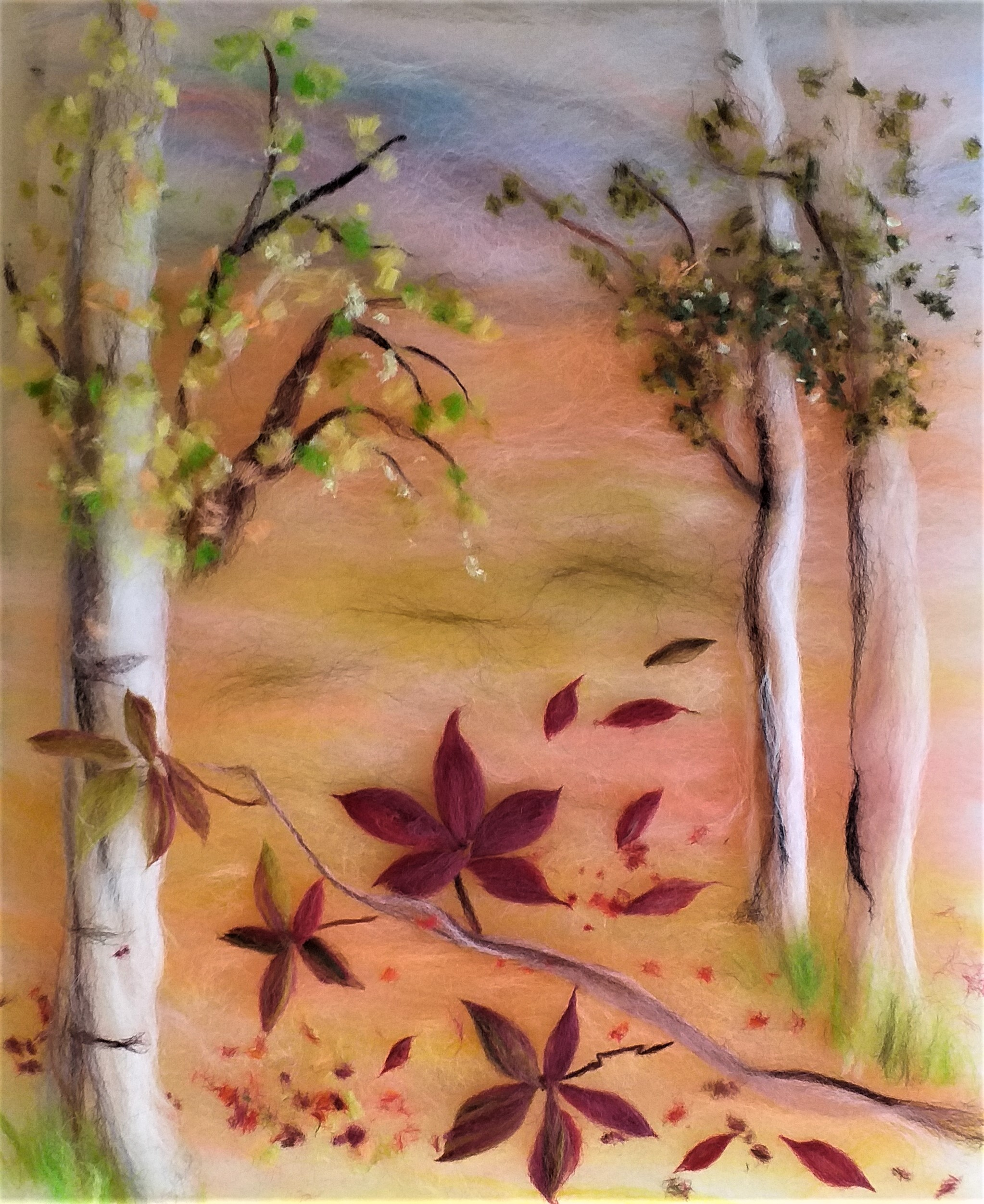 Autumn wool painting by student at Magic Wool Art and Craft studio in Kidderminster, Worcestershire