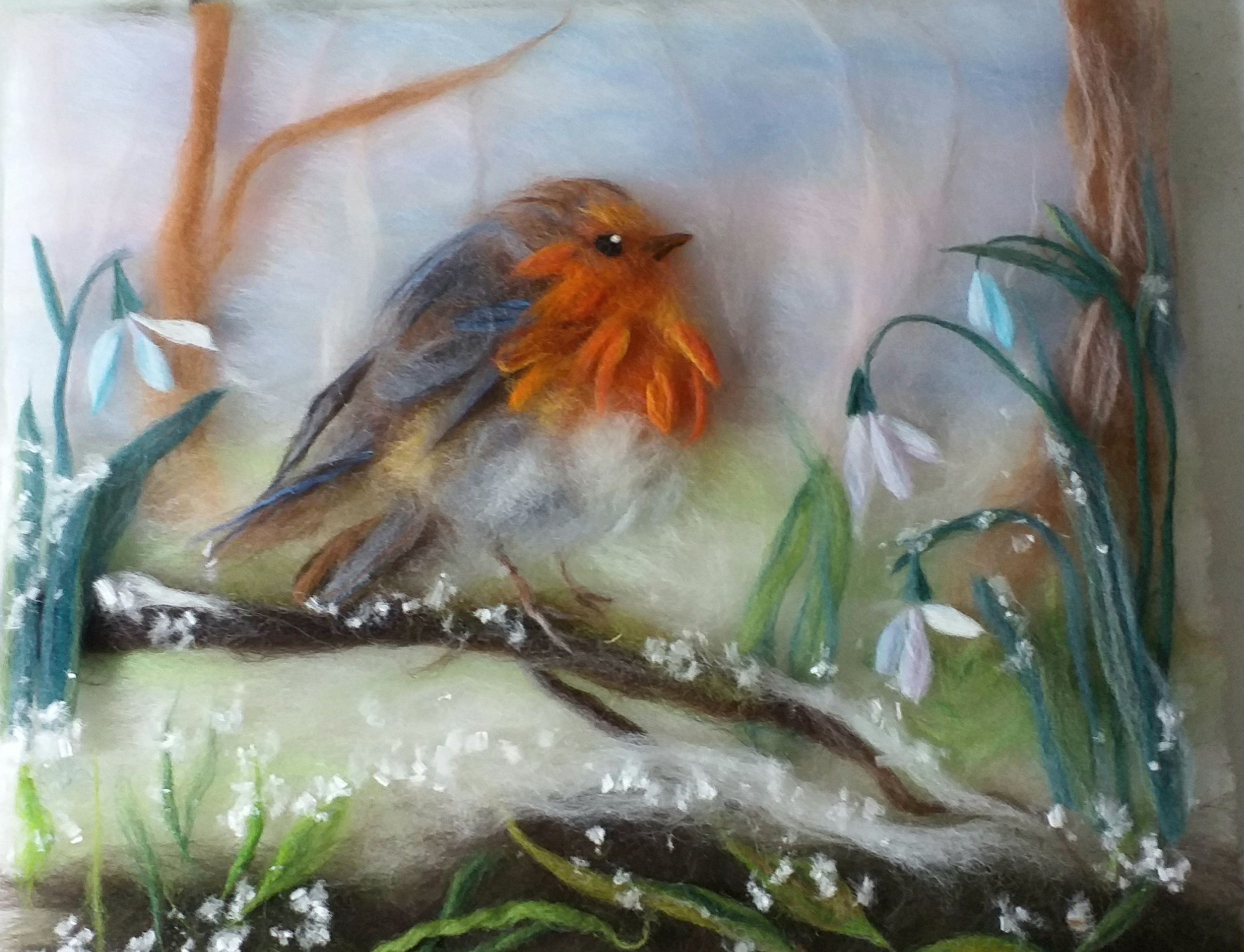'Red robin with snowdrops' wool painting course in Kidderminster Worcestershire