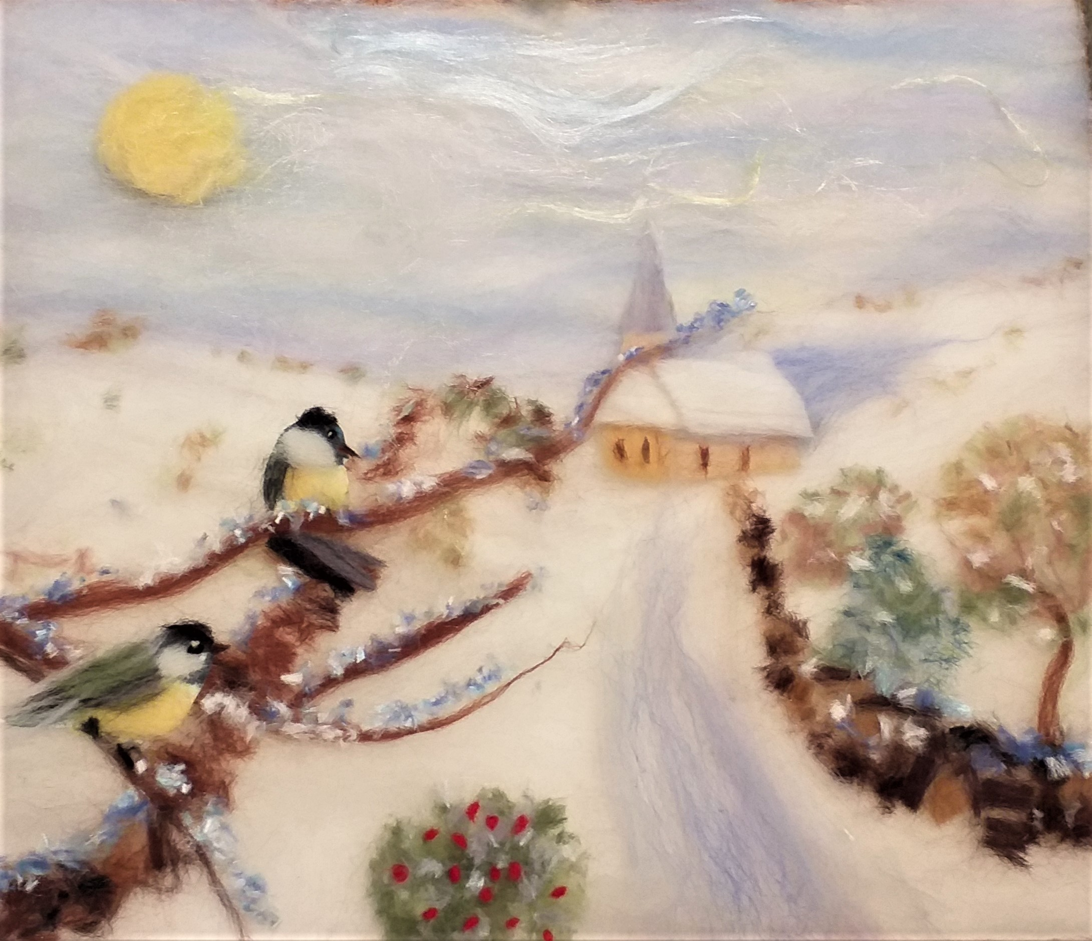 Christine's wool fibre painting created at Broadway Tower barn art class