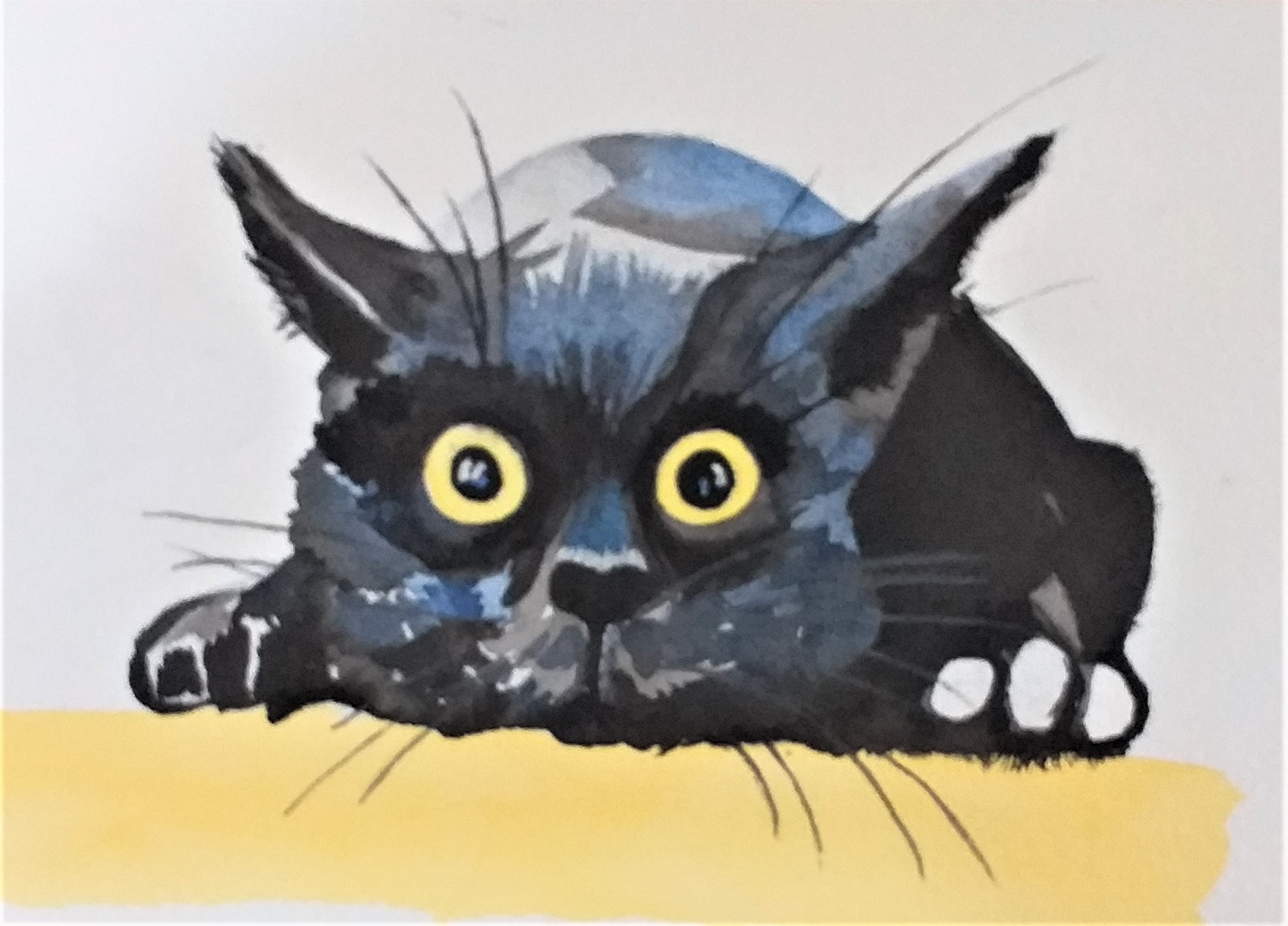 Watercolour painting of a cat by Coralie.