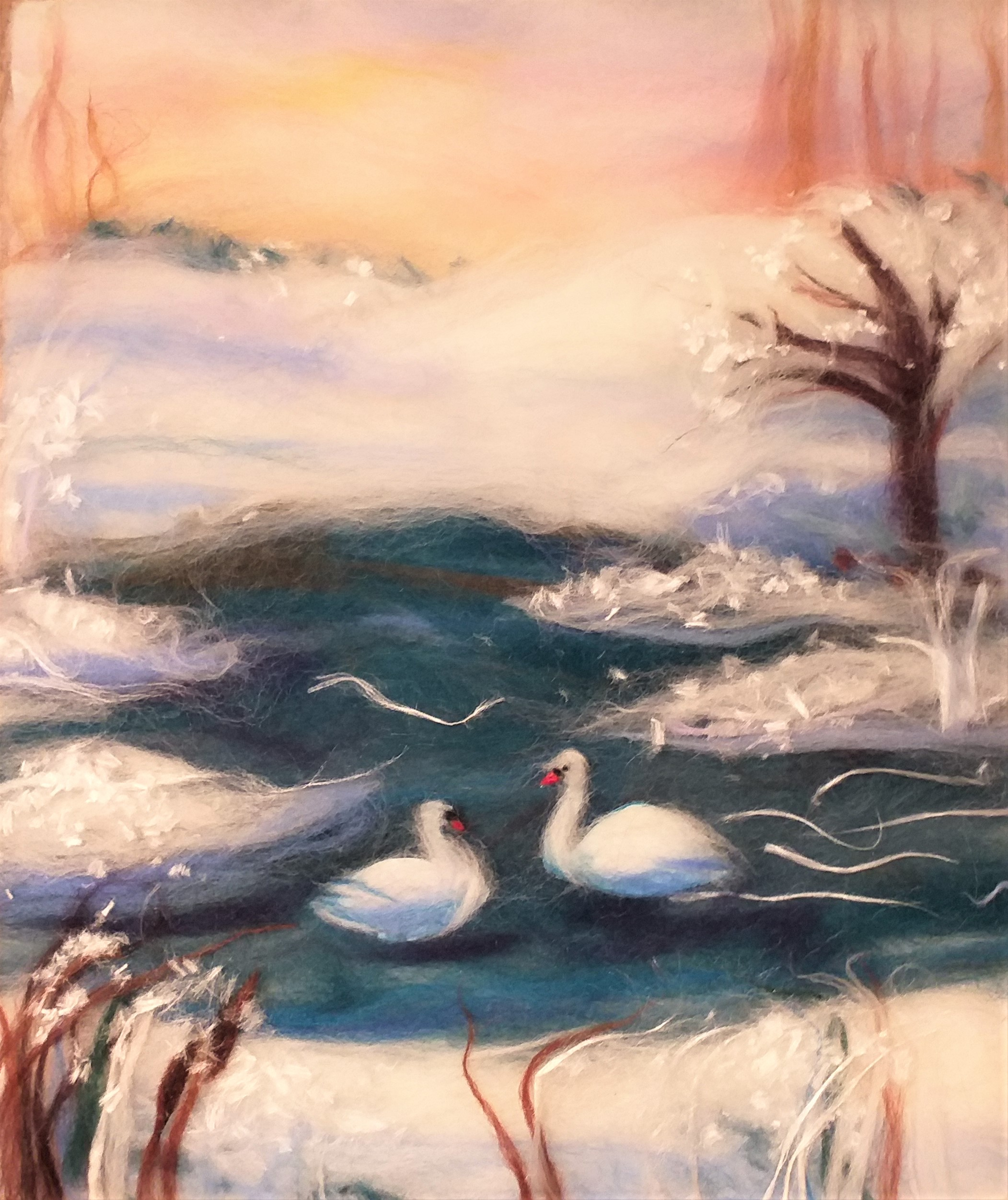 Linda's wool painting created at wool painting course in Cotswolds