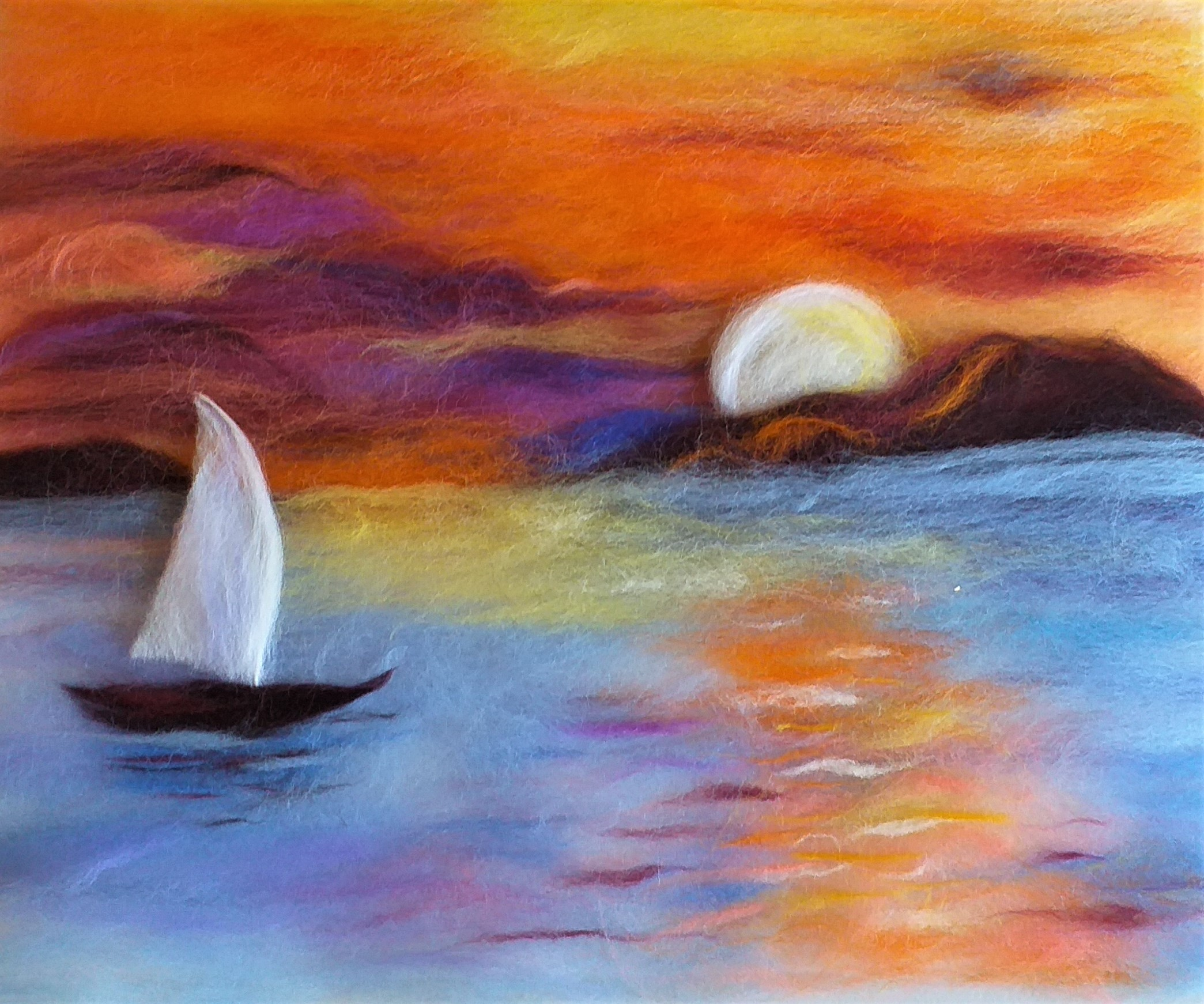'Sunset' wool painting course for complete beginners
