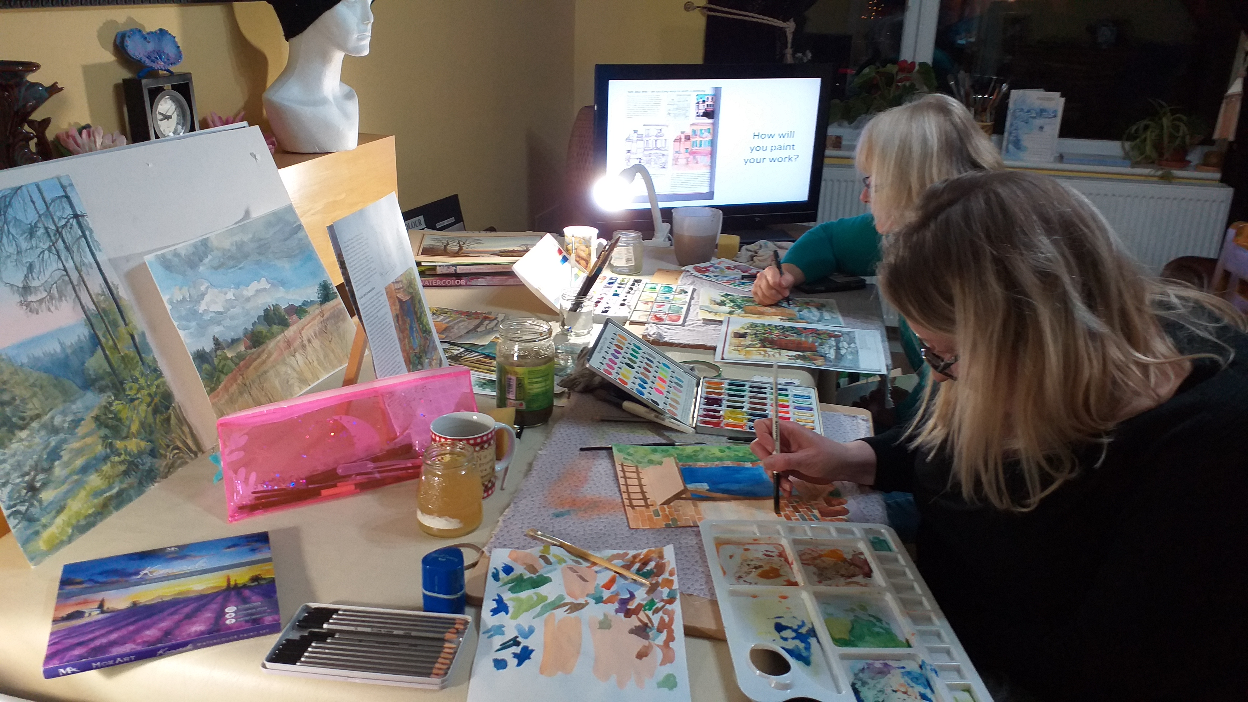 adult learners at watercolour art class in Kidderminster