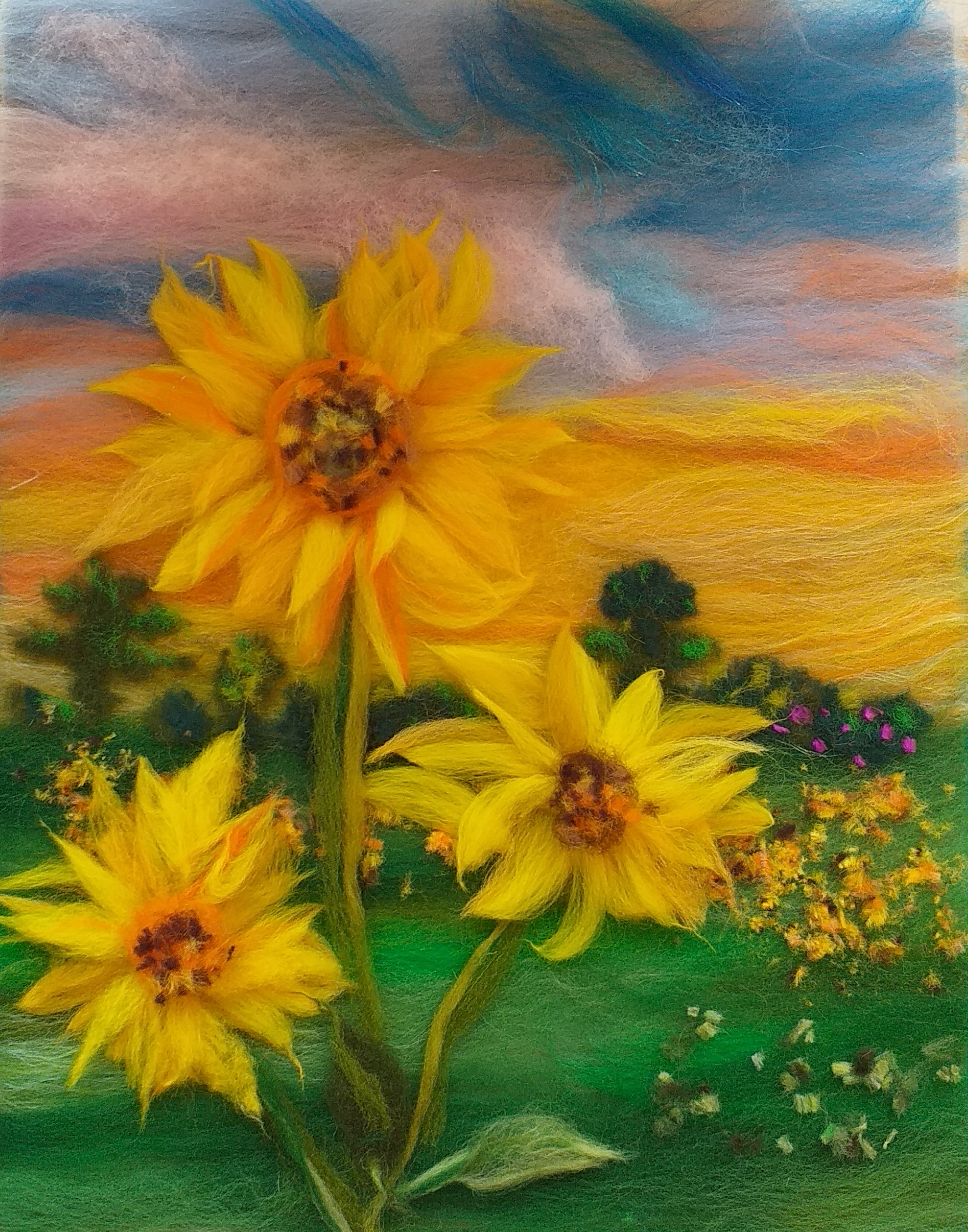 Sunflowers wool fibre painting