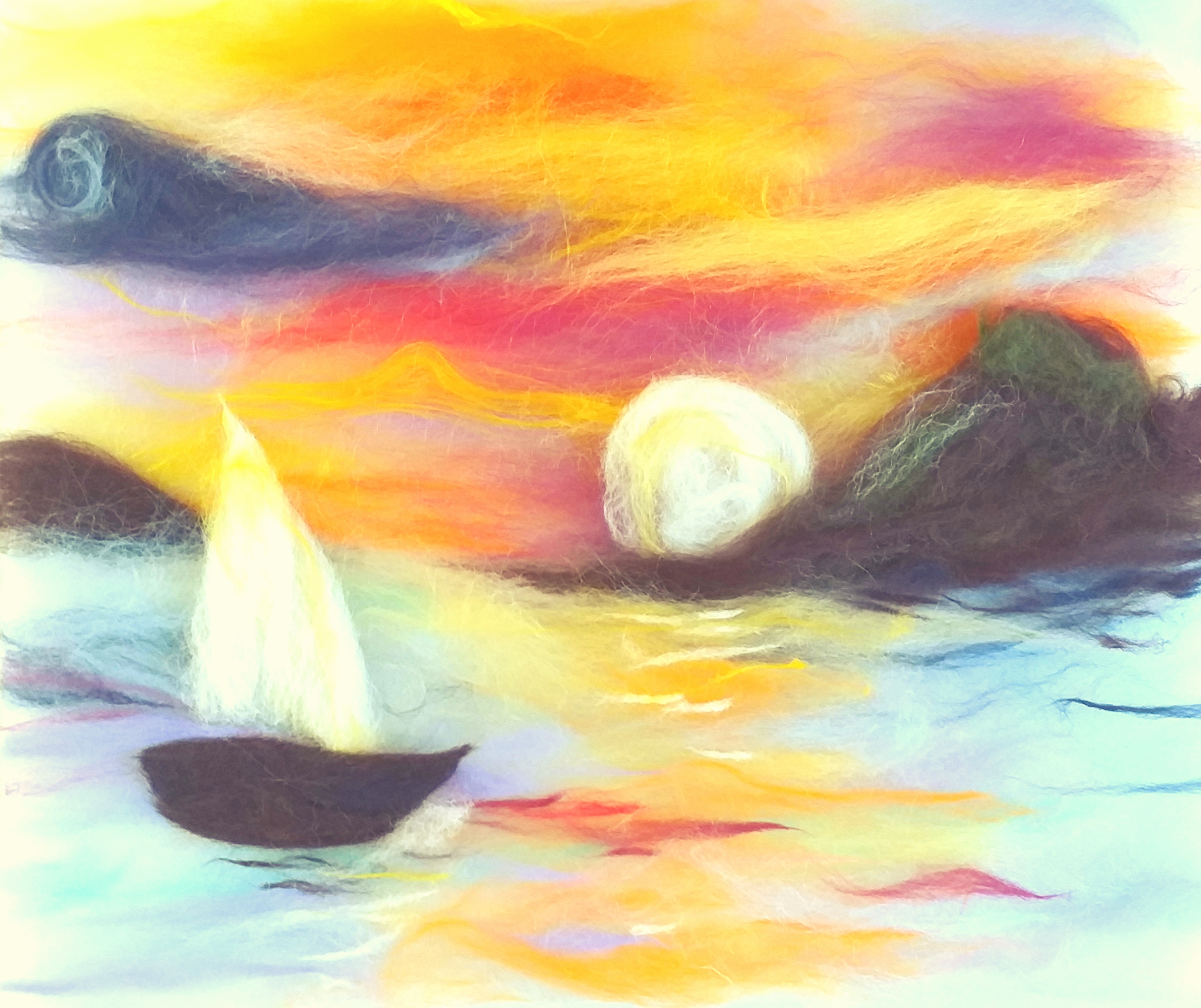 Sunset wool painting by Vicky