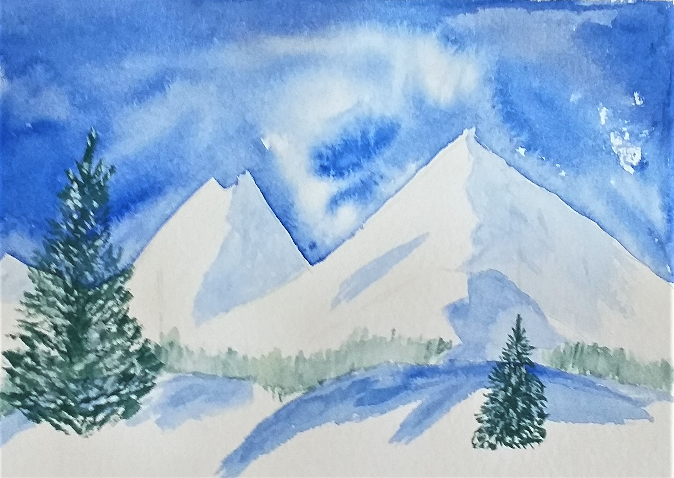 Winter scene by Katherine painted at Raya's Art Classes in Worcestershire