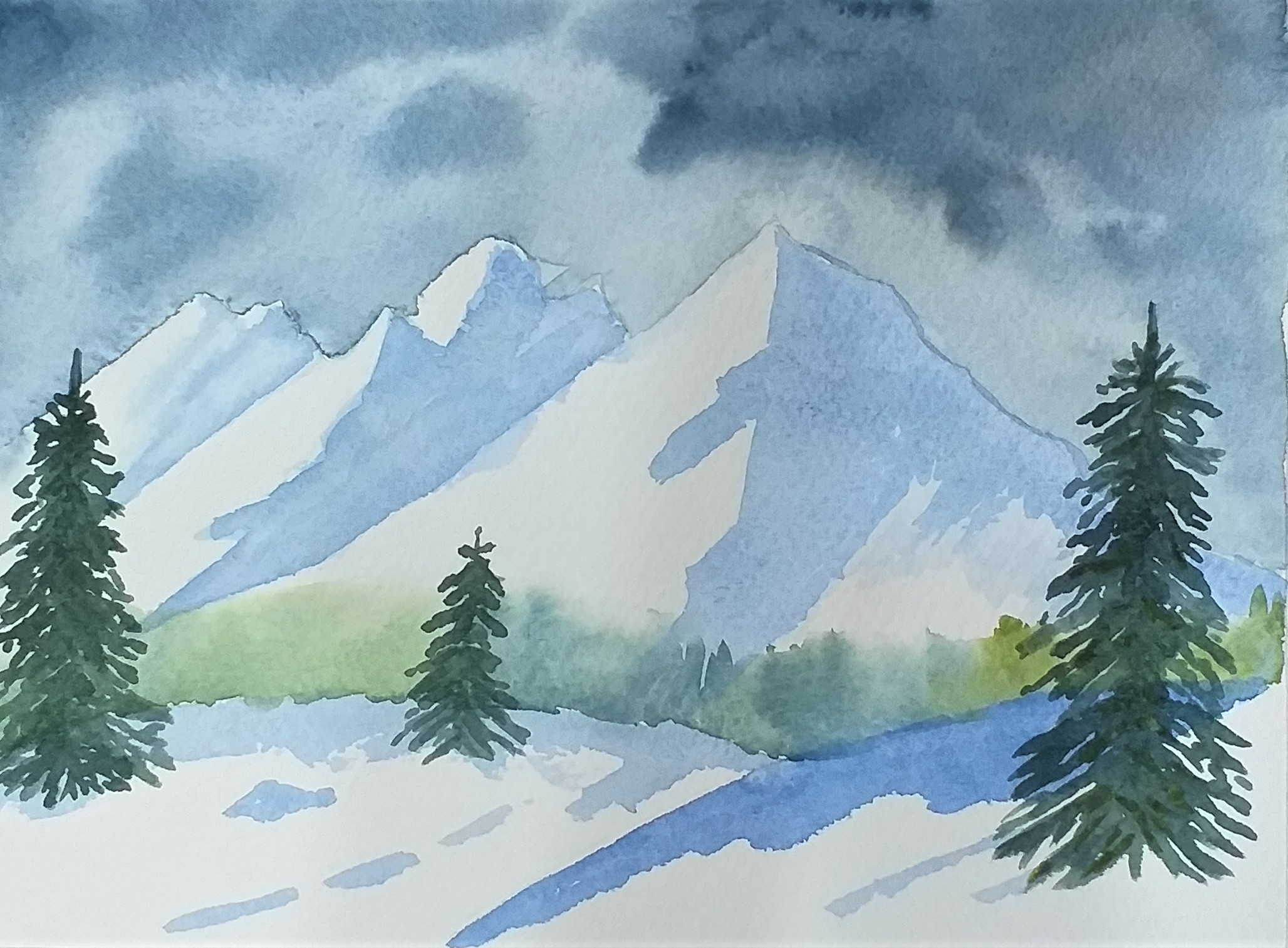 Rhiannon's winter landscape in watercolour. Fundamental Art Skills course in Kidderminster