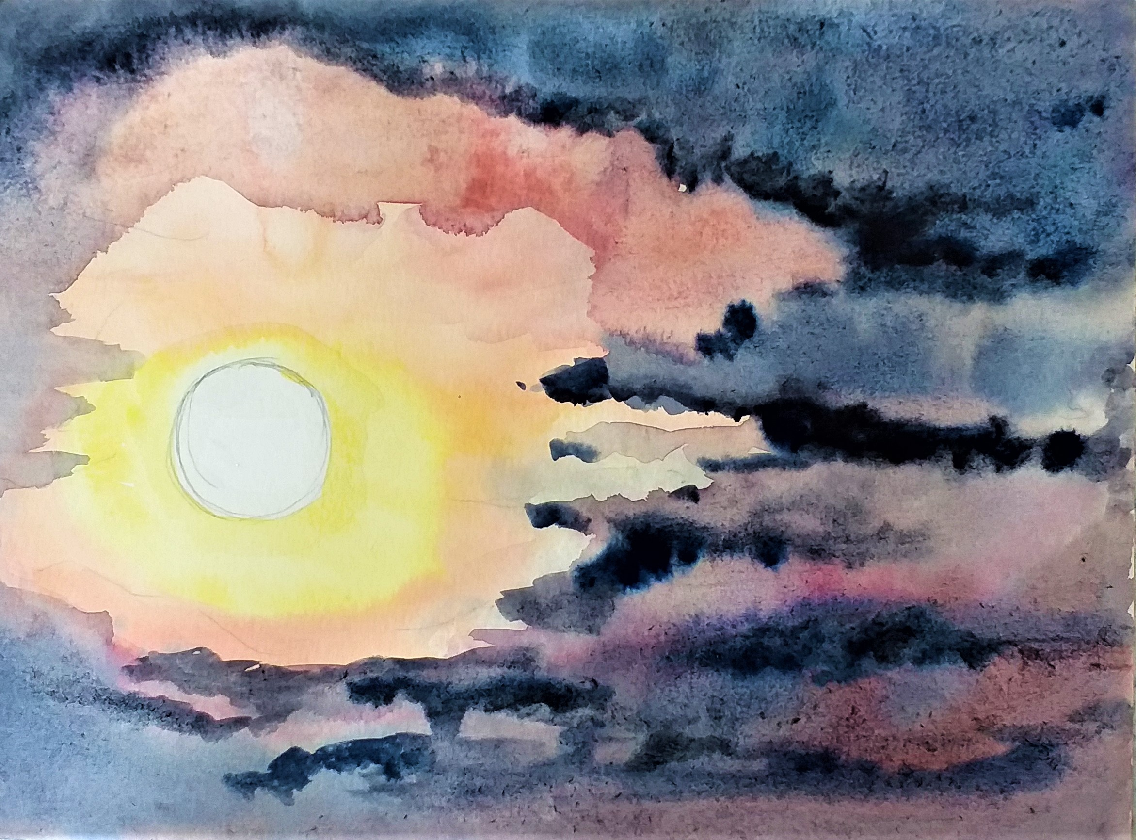 Students from Magic Wool Art and Craft Studio in Kidderminster inspired by beautiful sunsets and skies
