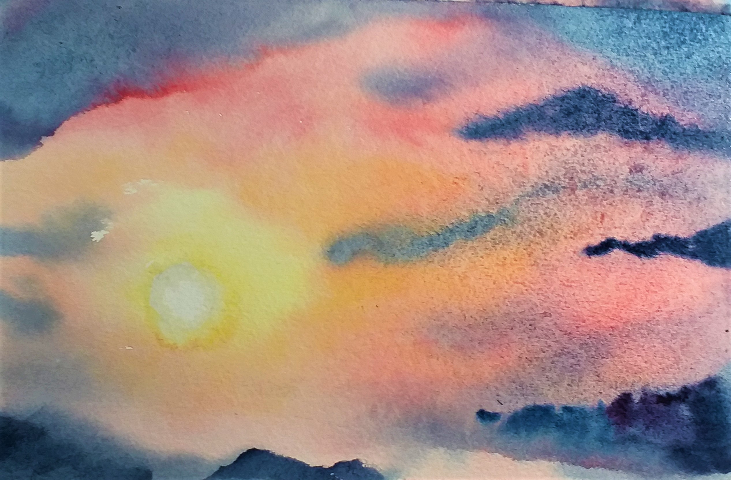 Marion's watercolour of sunset created at Raya's art classes