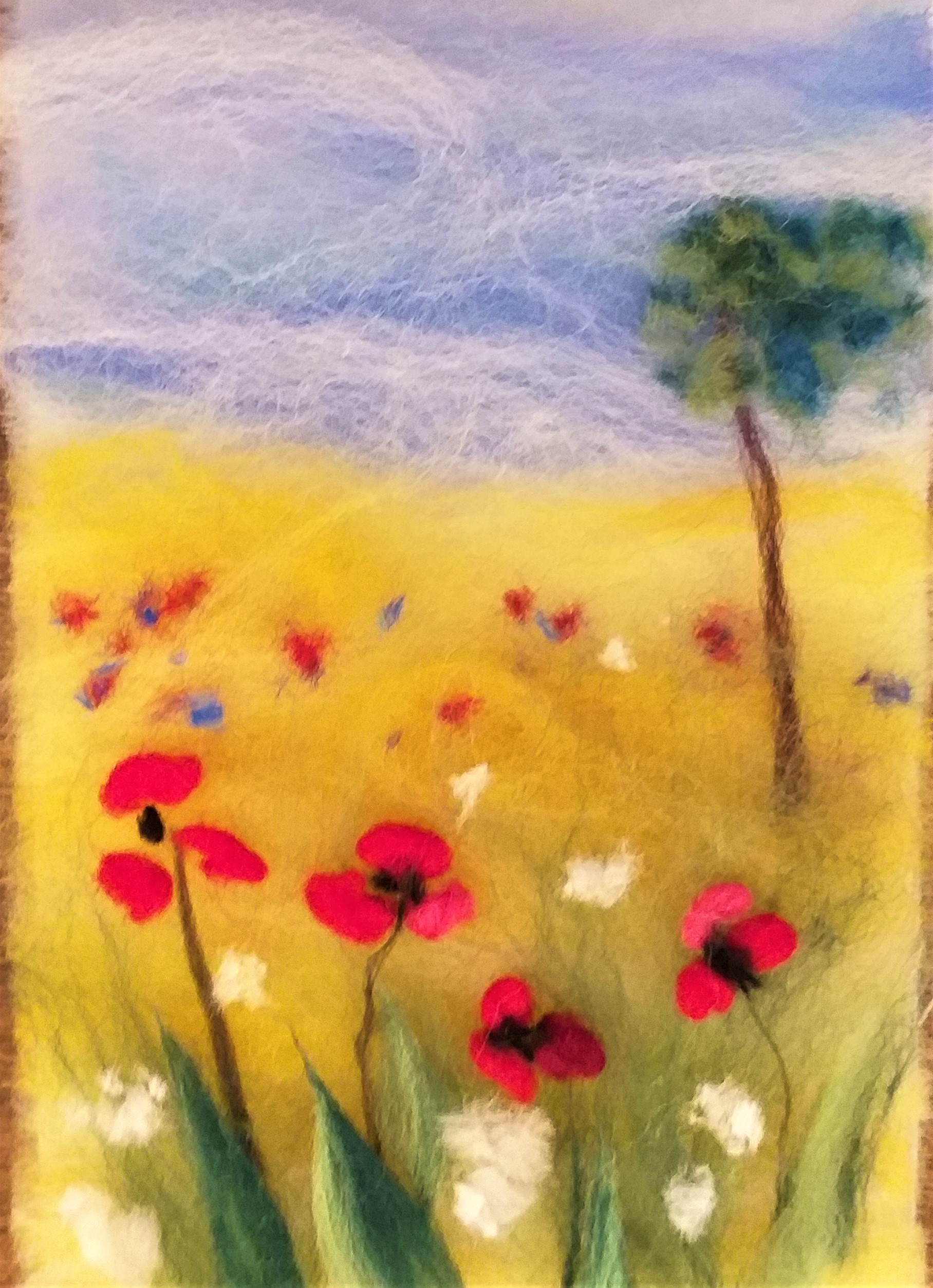 Miniature wool fibre painting of poppies created at Art course in Broadway Tower barn with Raya Brown