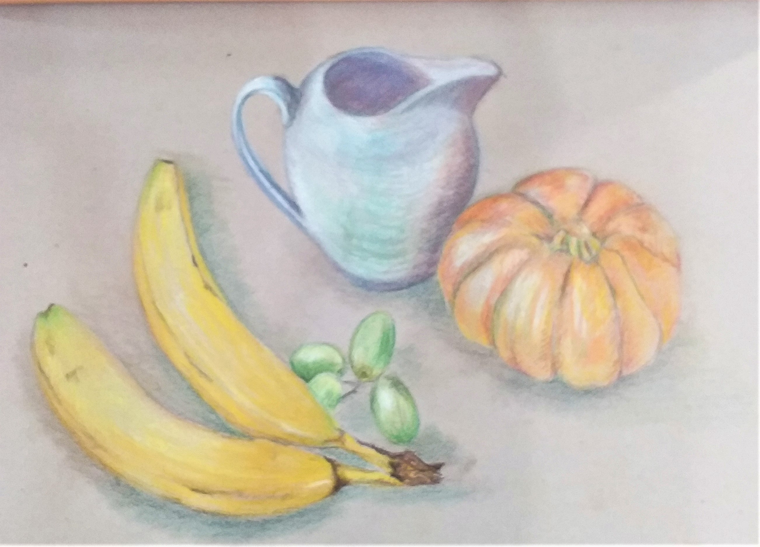 Pastel drawing of a Still life created by a student at art course in Kidderminster Worcestershire