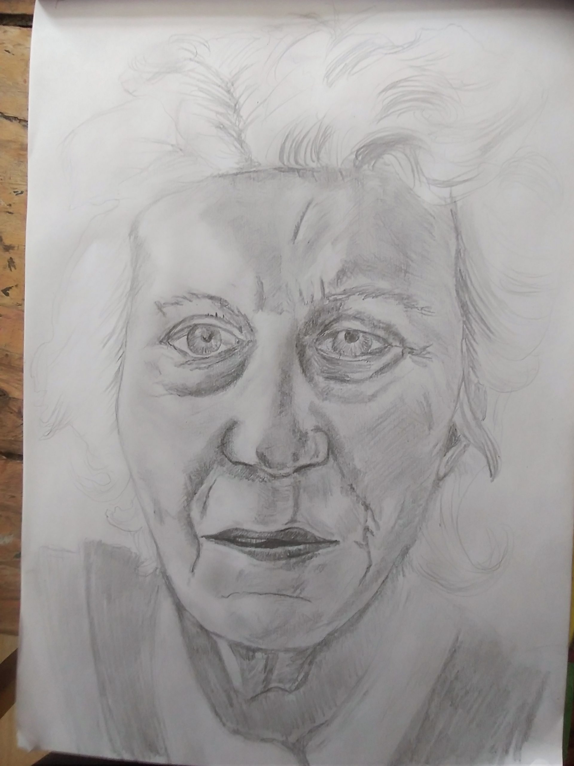 Clare's portrait of an old lady created at online art course with Raya Brown