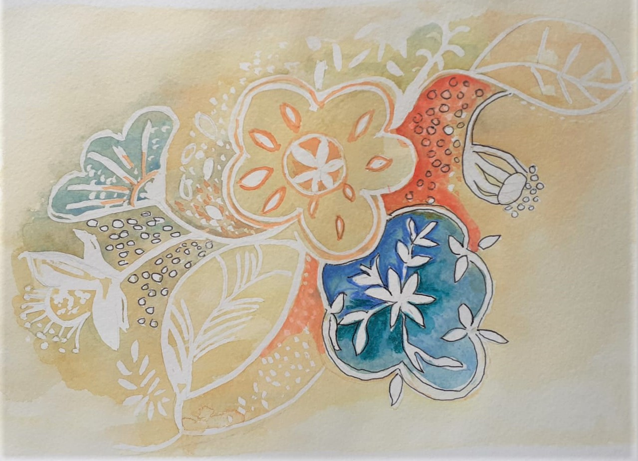 Beautiful pattern in watercolour created by a student at our online art class
