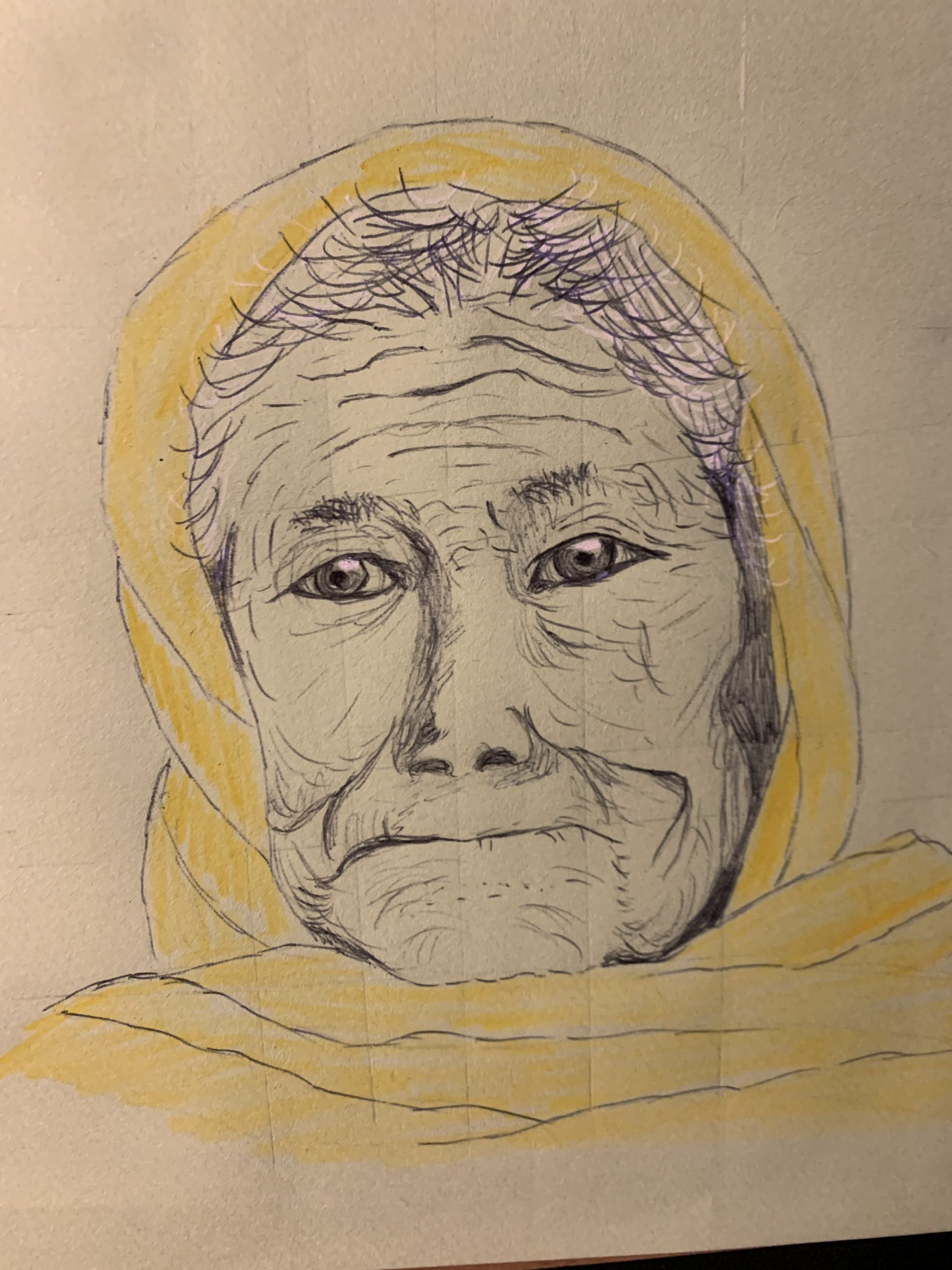 Learn how to draw old people at online art course