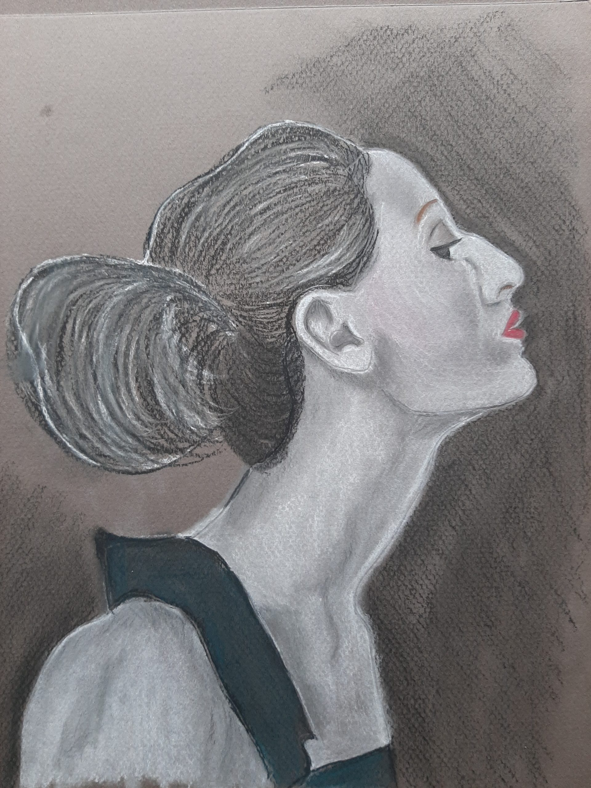 Profile portrait by Nadya created at online portrait art course