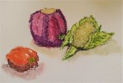 Fantastic Watercolour sketches created at online 'Fun with Watercolour' Art course via zoom.