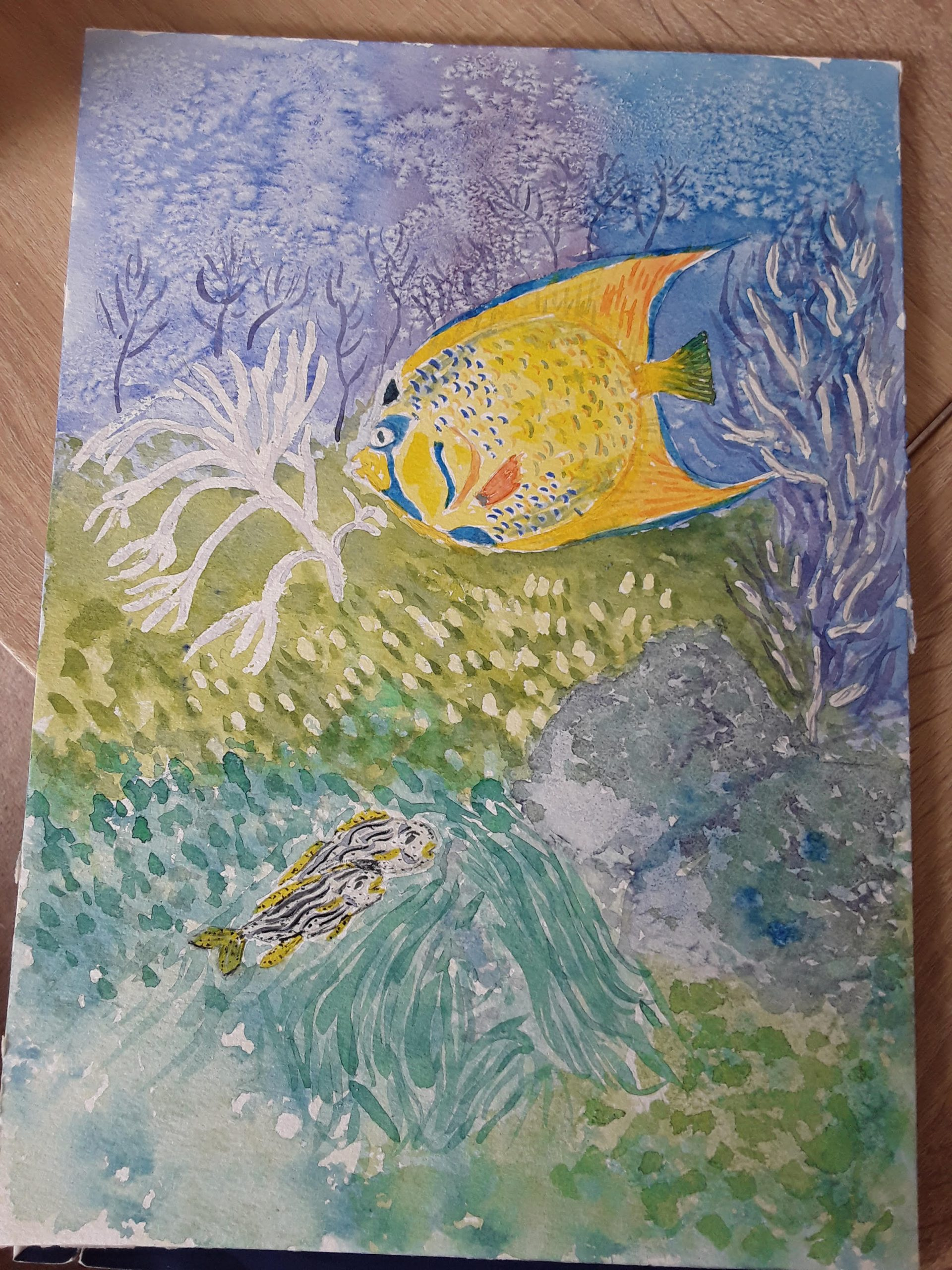 Lovely sea life scenes painted by students from online 'Fun with watercolours' course with life tuition in Worcestershire.