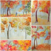 Autumn in Watercolour painting of Worcestershire artist Raya Brown and her students.