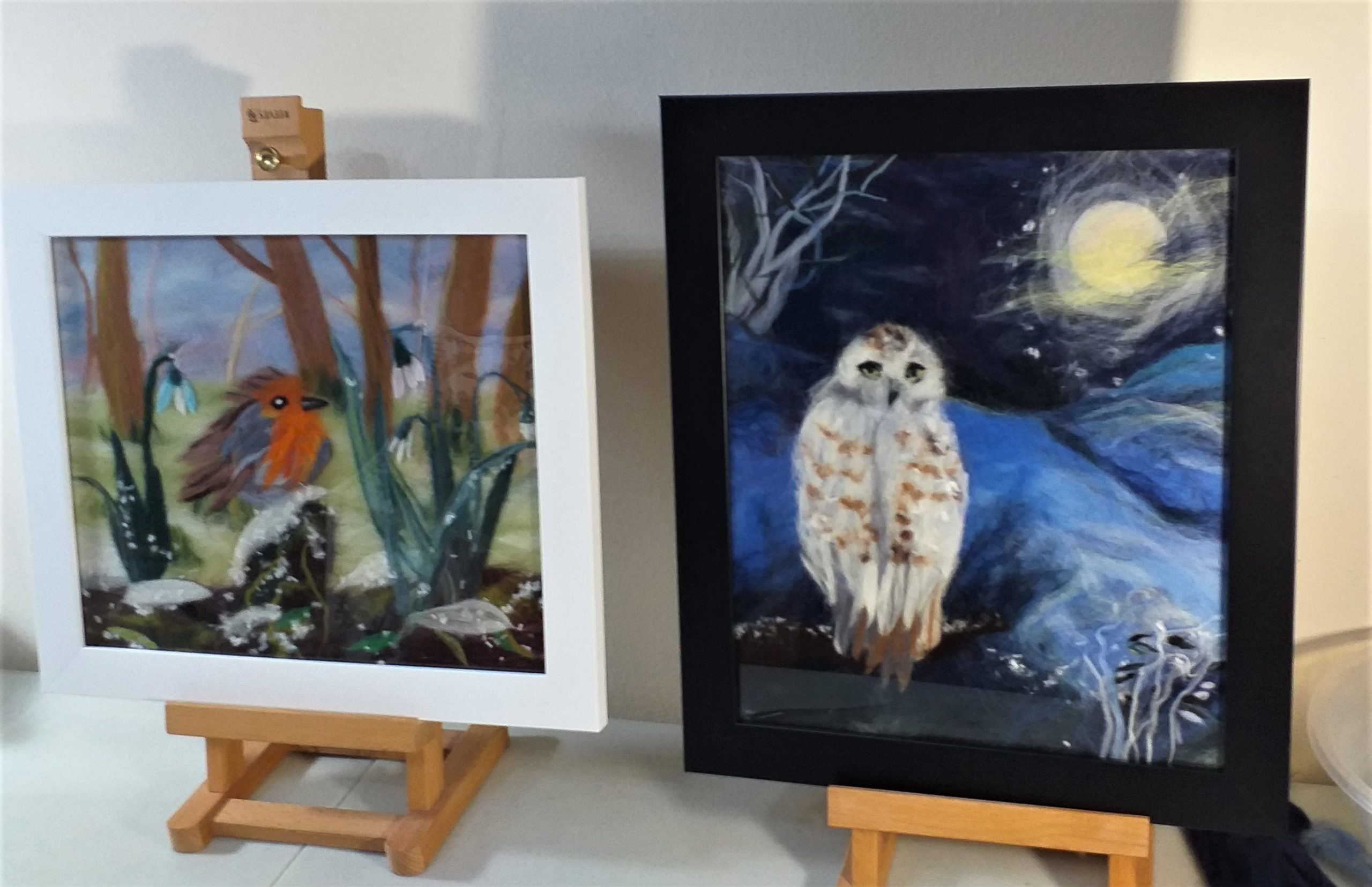 Linda's and Marion's Wool paintings