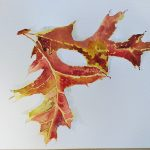 Beautiful Autumn paintings created at Watercolour art course for beginners in Worcestershire