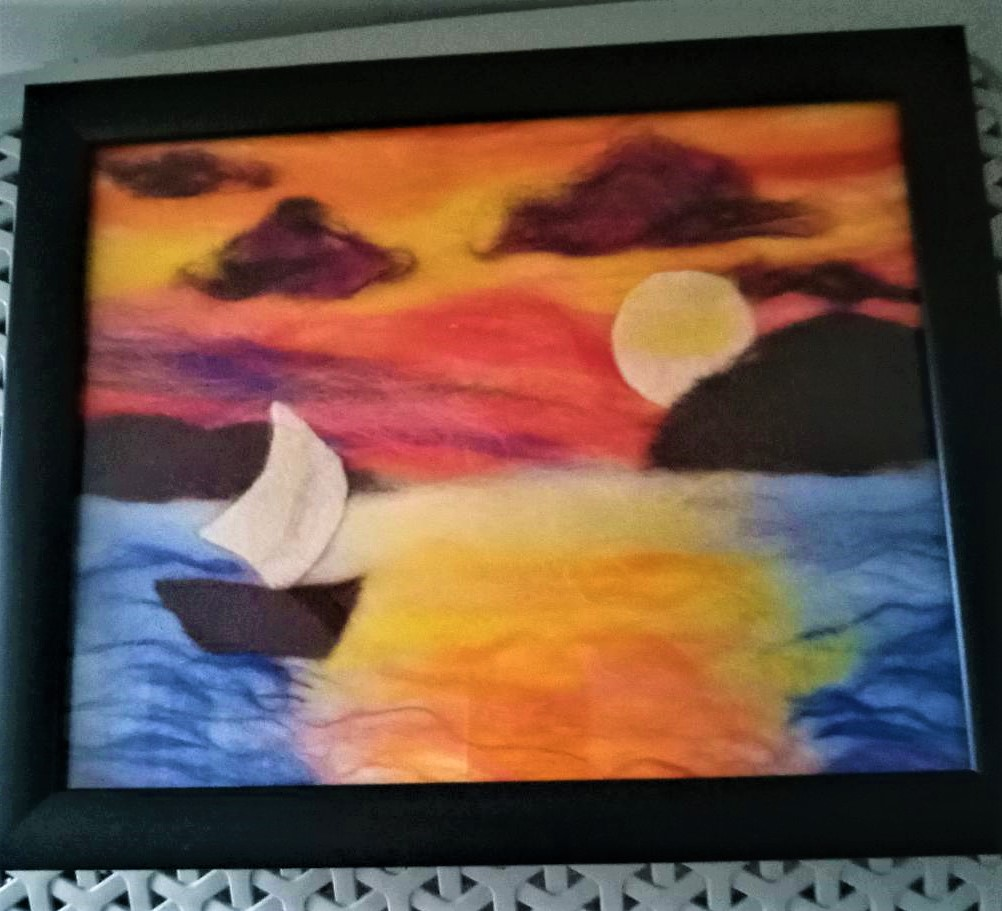 Sanda's wool fibre painting created at online textiles art course