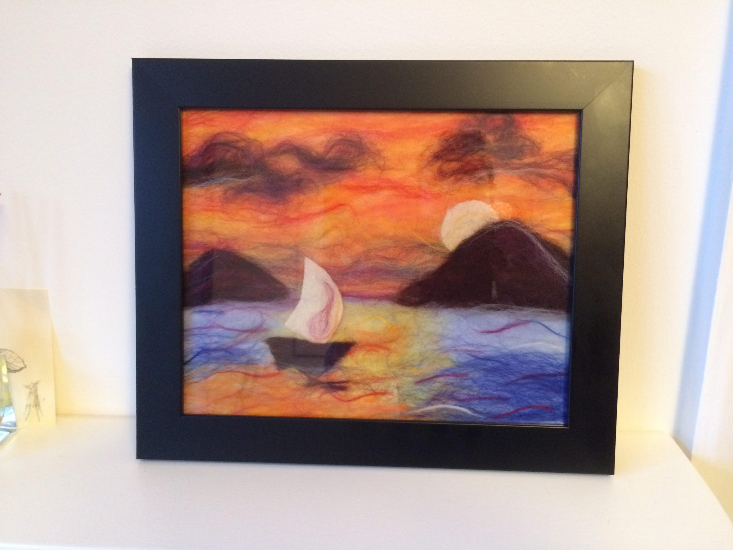 Sunset wool painting made at zoom art textiles course with artist Raya Brown