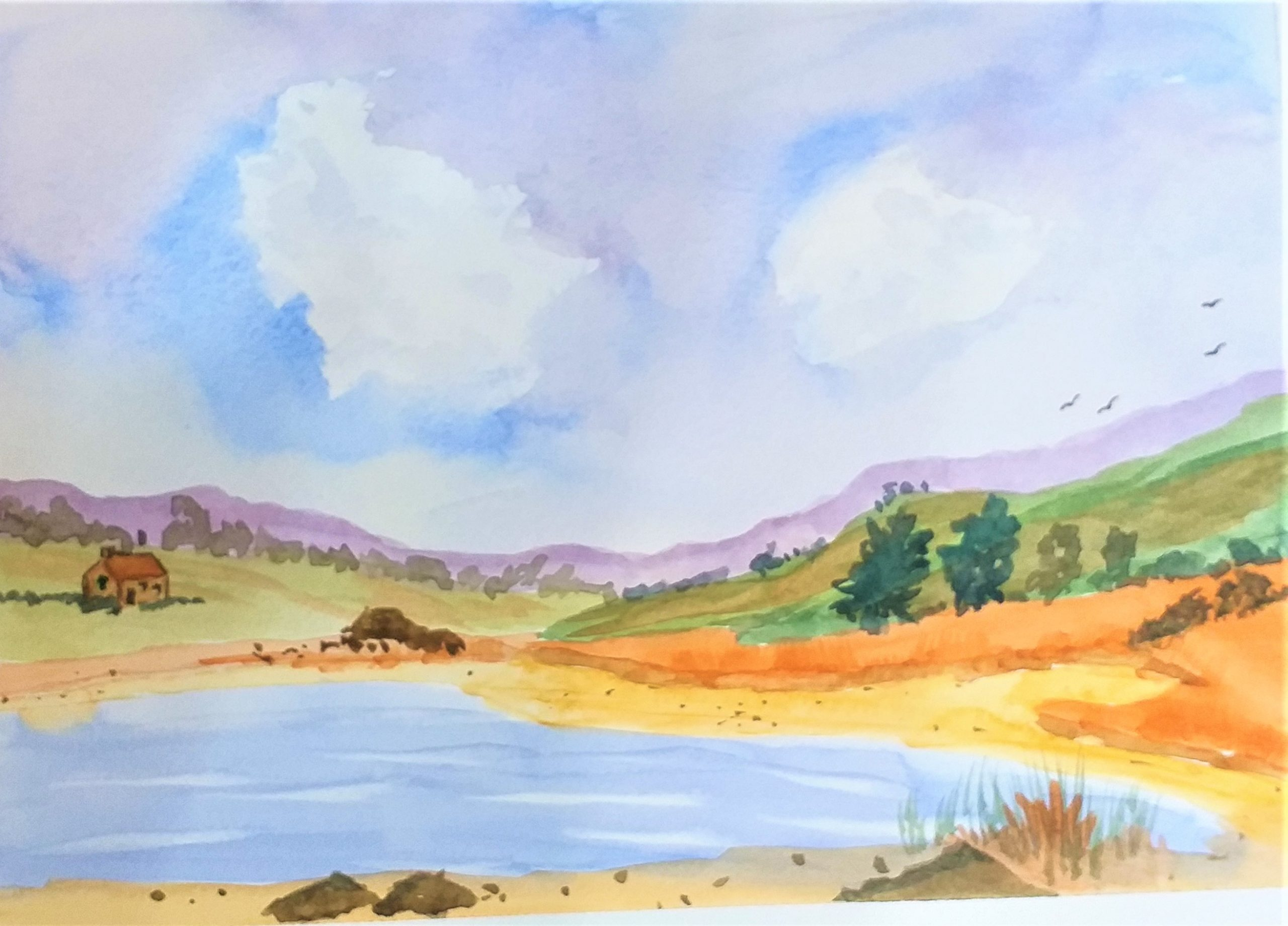 Watercolour by a new student John H created at Magic Wool Art and Craft Studio