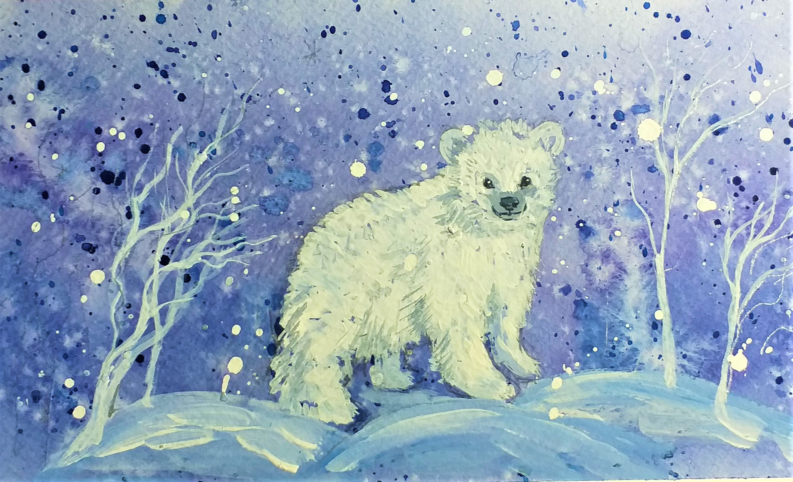 Merry Christmas watercolour card by Raya Brown