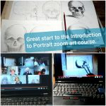 Great start to Introduction to Portrait online art course via zoom with artist Raya Brown.