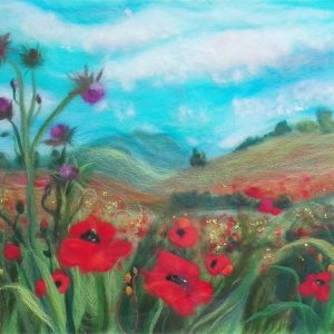 'Poppy field' wool painting