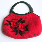 Nuno Felted Red Bag