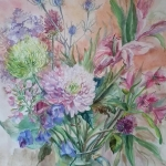 'Floral symphony' original watercolour by Raya Brown 50x55cm £280