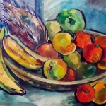 'Still life with apples and bananas' original watercolour painting by Raya Brown 58x72cm £300