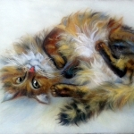 'Funtik Friend's Cat' original wool painting by Raya Brown 40x30cm  £350.