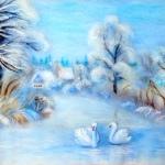 'Winter Dream' original wool painting by Raya Brown 36cmx46cm  £350.