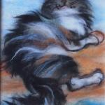 'Happy Vaska' wool painting 18x23cm