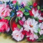 'Peonies'  wool painting 33x43 cm