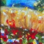 'Poppy dream' wool painting 12x17cm
