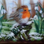 'Red Robin With Snowdrops' original wool painting by Raya Brown 35x49cm £350.