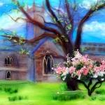 'Spring In Worcestershire' original wool painting by Raya Brown 30x48cm £200.
