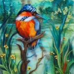 'The Kingfisher' original wool painting by Raya Brown 30x47cm £350.