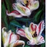 'White tulips'  wool painting 22x28-cm