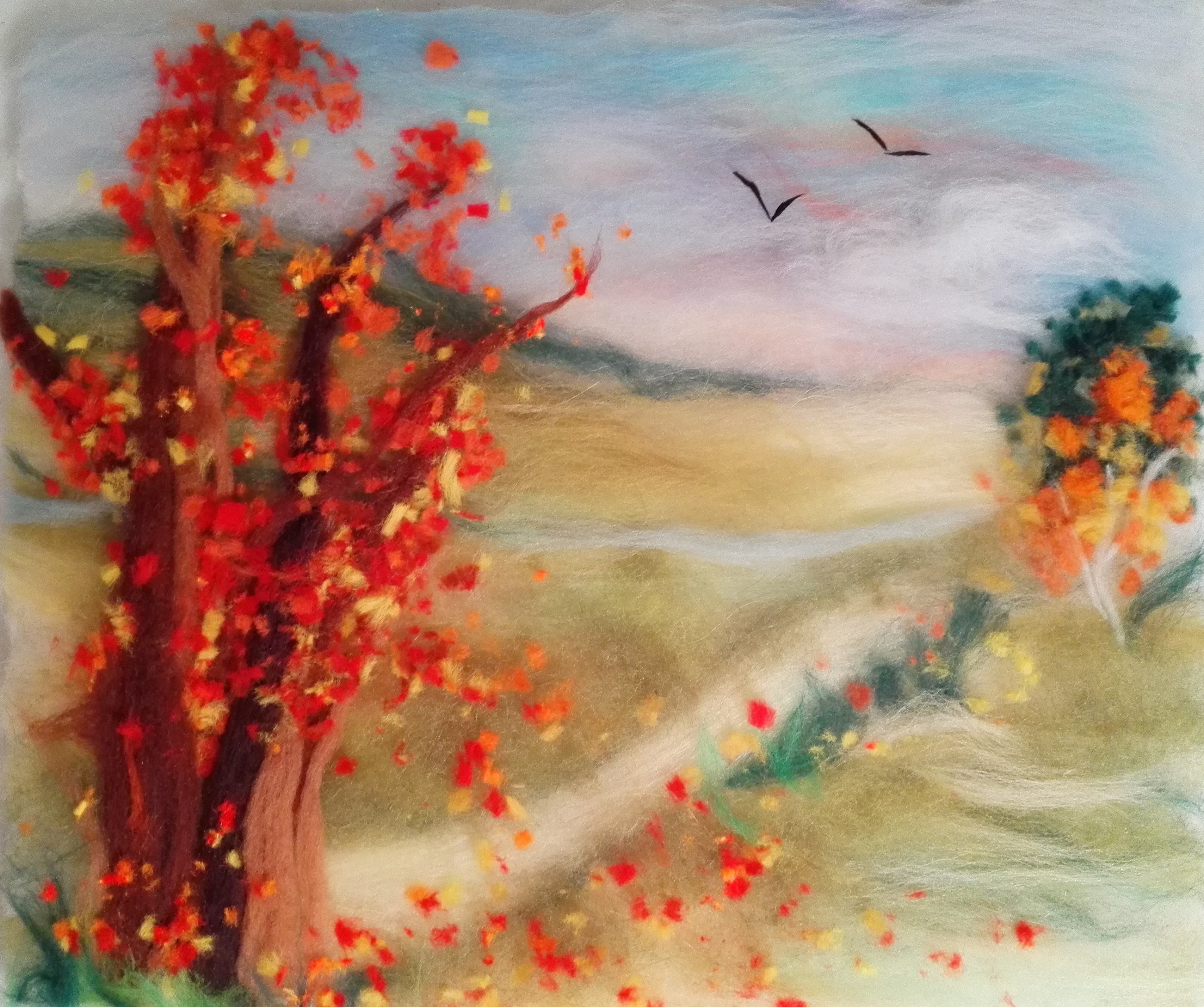 """""""Autumn Landscape"""" wool painting by Chris"""