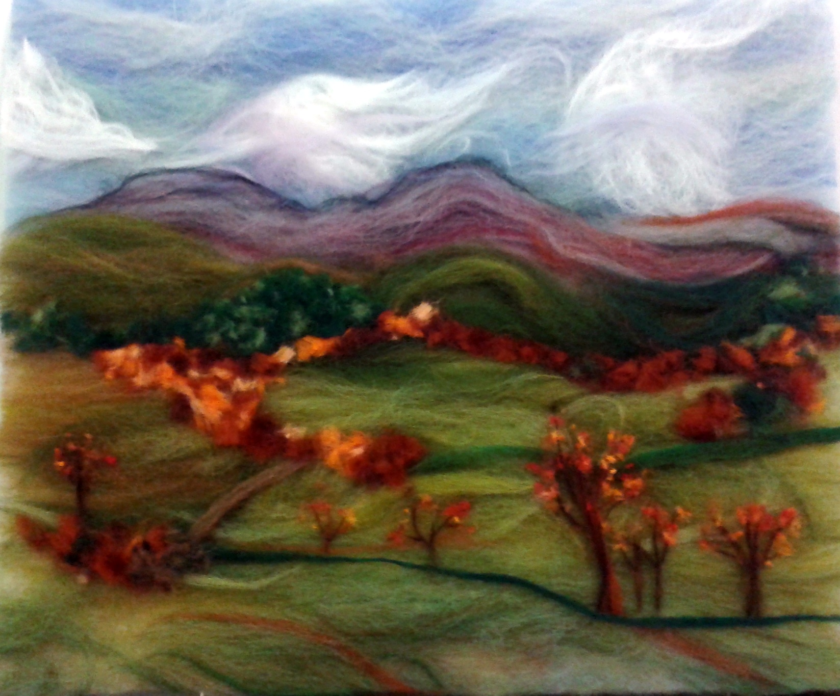 Autumn landscape recreated in wool fibres by a student